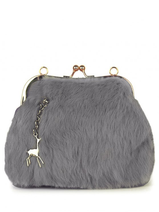 Kiss Lock Furry Evening Bag - LIGHT GRAY  Mobile