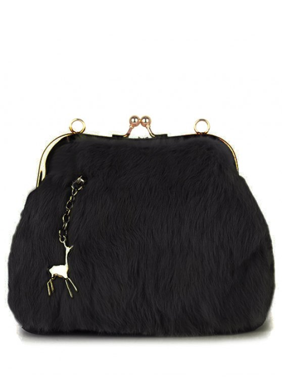 Kiss Lock Furry Evening Bag - BLACK  Mobile