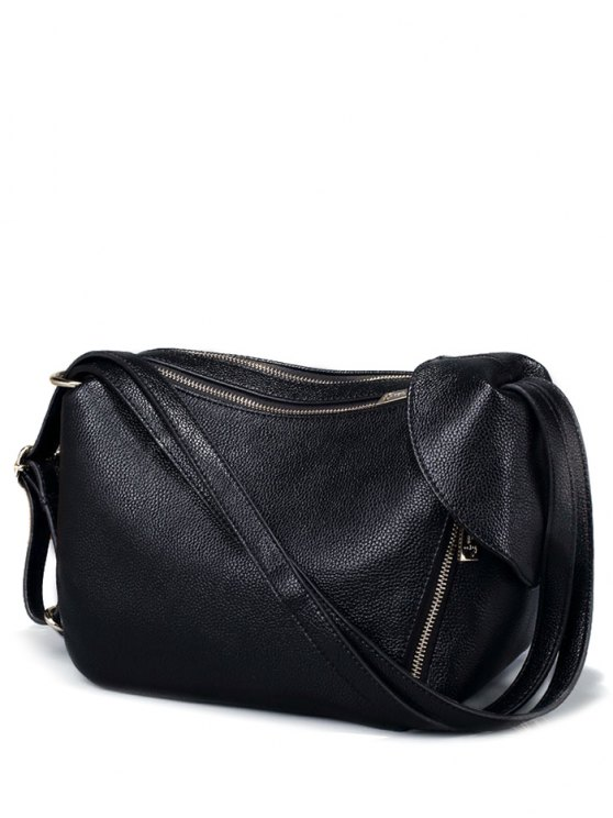 Convertible Textured PU Leather Shoulder Bag - BLACK  Mobile