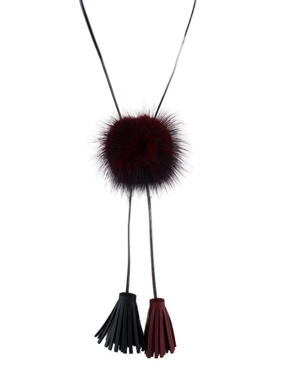 Fringe Faux Fur Ball Necklace -   Mobile