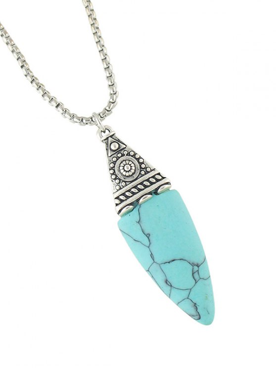 Oval Faux Turquoise Necklace - TURQUOISE BLUE  Mobile