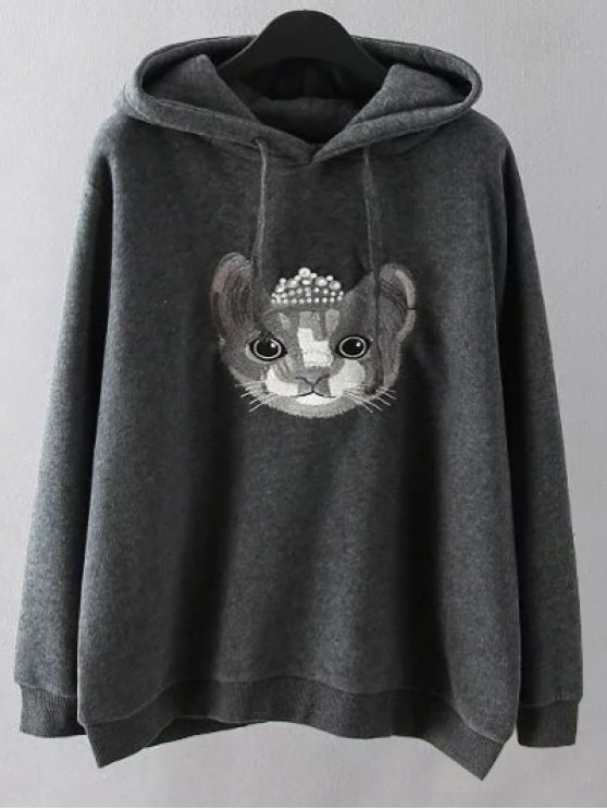 String Cartoon Embroidered Hoodie - GRAY 3XL Mobile
