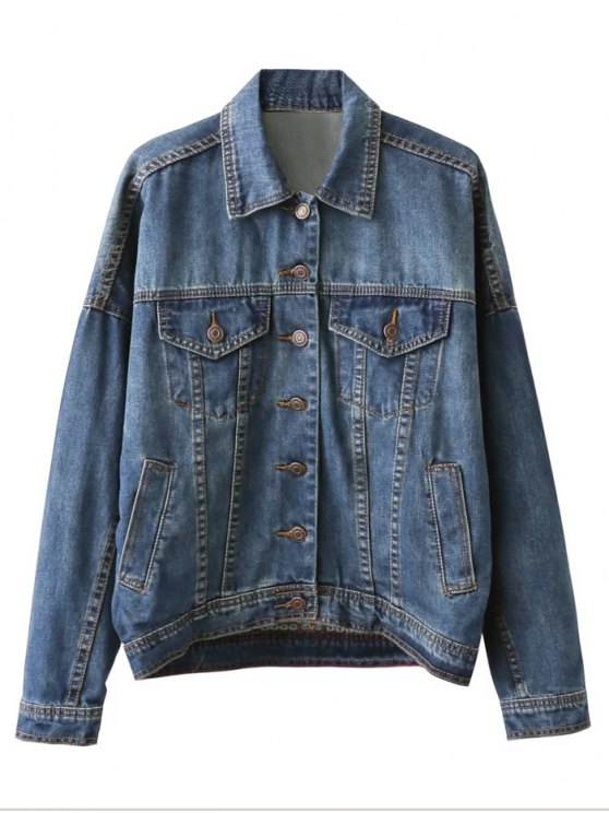 shop Pocket Embroidered Denim Jacket - BLUE M