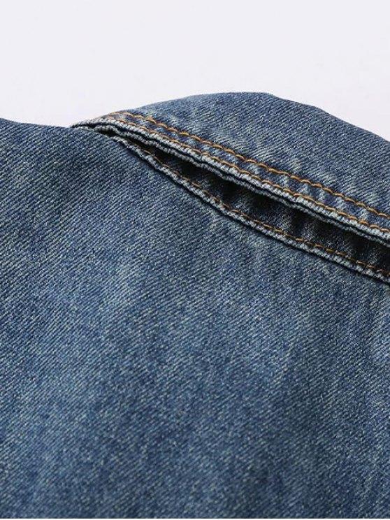 Pocket Embroidered Denim Jacket - BLUE L Mobile