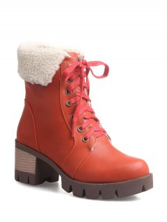 Lace Up Platform Round Toe Ankle Boots - Orangepink 39