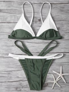 High Cut Color Block Bathing Suit - Army Green L