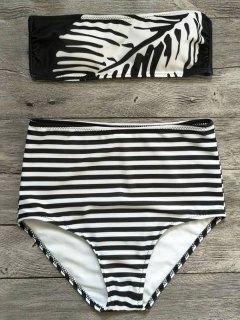 Strapless Feather Print Striped Bikini Set - White And Black S