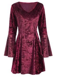 Bell Sleeve Fit And Flare Velvet Dress - Burgundy S