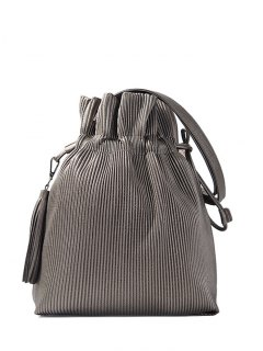 Tassel Ribbed Drawstring Shoulder Bag - Silver Gray