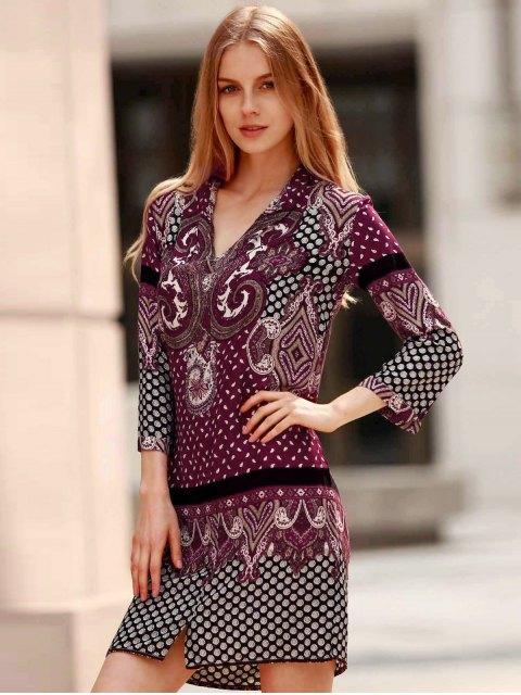 best Three Quarter Sleeve Floral Print Straight Dress - PURPLE L Mobile