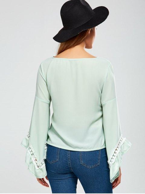sale Flare Sleeve Chiffon Blouse - LIGHT GREEN M Mobile