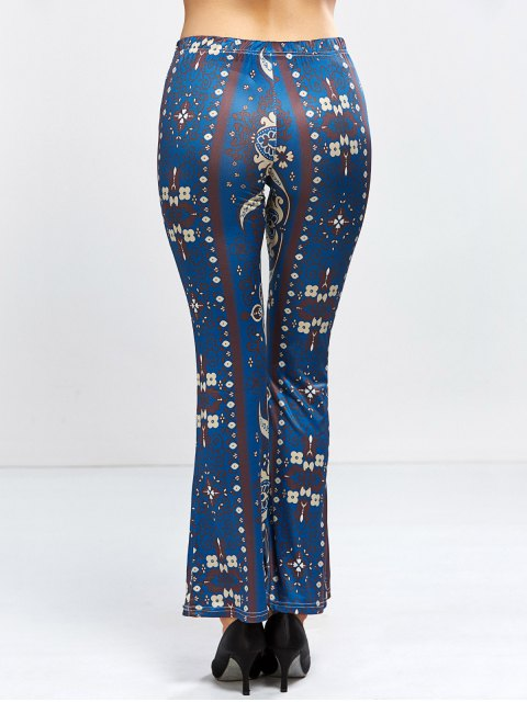 hot Floral Bell Bottom Pants - PURPLISH BLUE S Mobile