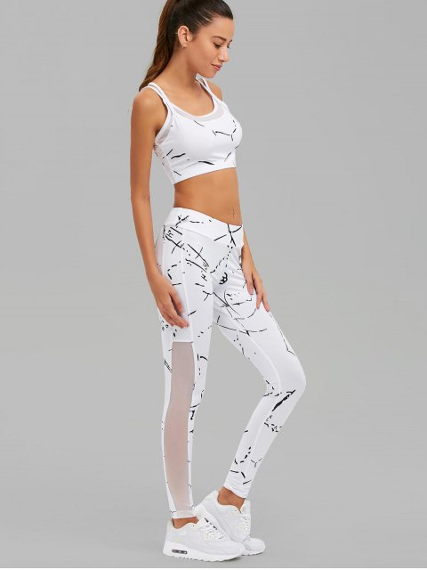chic Paint Splatter Mesh Paneled Gym Suit - WHITE M Mobile