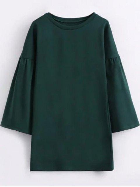 women Round Collar Shift Dress - GREEN S Mobile