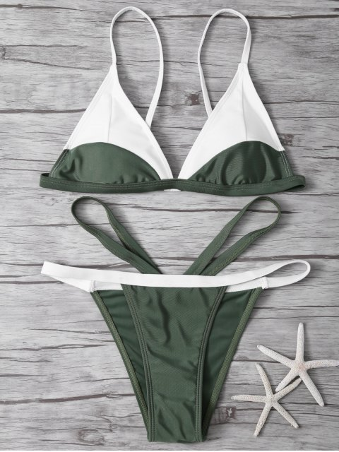 buy High Cut Color Block Bathing Suit - ARMY GREEN M Mobile