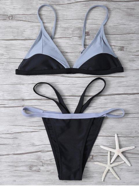 unique High Cut Color Block Bathing Suit - BLACK M Mobile