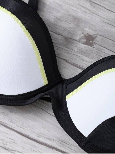 shop Color Block Gathered Bikini Set - BLACK M Mobile