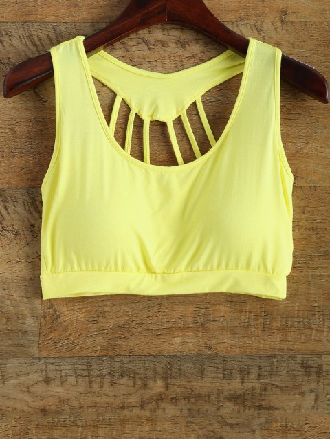 hot Padded Back Strappy Yoga Top - YELLOW ONE SIZE Mobile