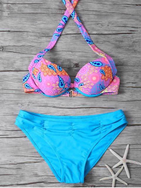 chic Halter Ethnic Style Underwire Bikini Set - BLUE L Mobile