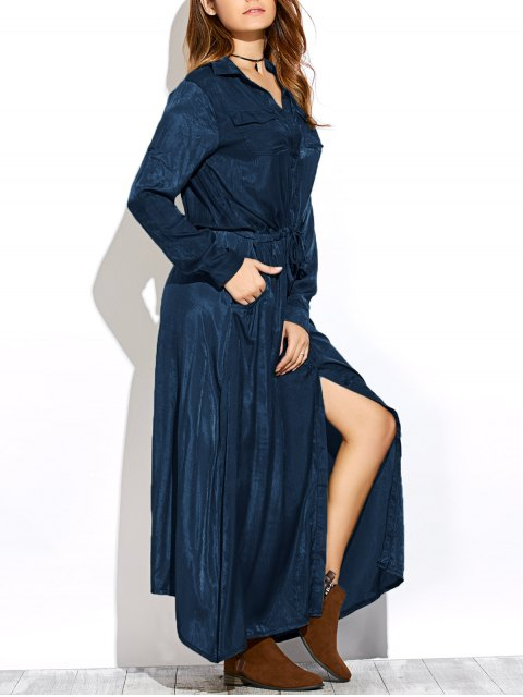 outfits Long Sleeves Maxi Shirt Dress - PURPLISH BLUE XL Mobile