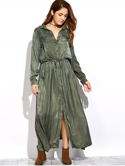 fancy Long Sleeves Maxi Shirt Dress - GREEN S Mobile