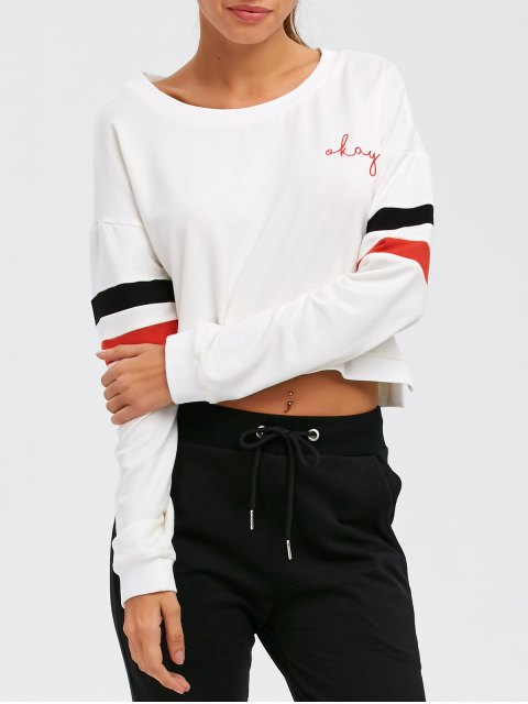 women Color Block Cropped Sweatshirt - WHITE 2XL Mobile