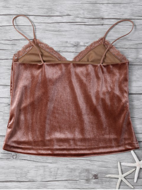 outfit Lace Trim Velvet Camisole Top - COFFEE L Mobile
