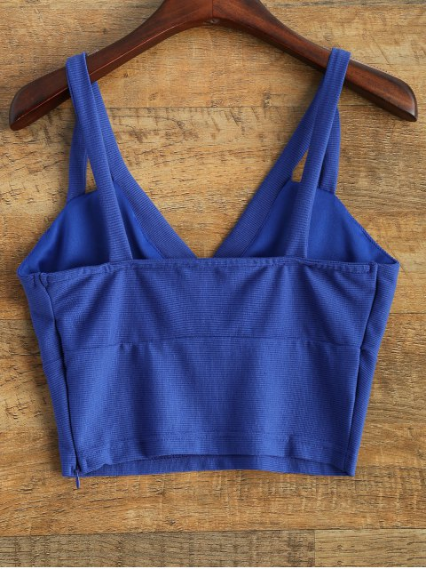 women's Plunge Cropped Tank Top - BLUE L Mobile