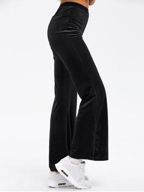 chic Velvet Boot Cut Pants - BLACK ONE SIZE Mobile