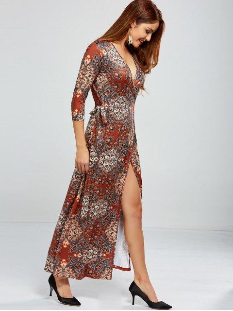 unique Low Cut Print Maxi Wrap Dress - COLORMIX L Mobile