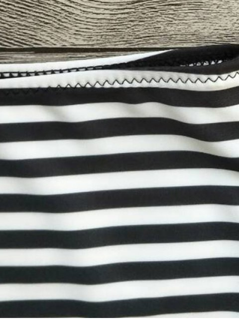 unique Strapless Feather Print Striped Bikini Set - WHITE AND BLACK S Mobile