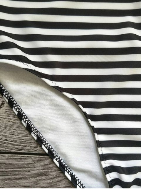 chic Strapless Feather Print Striped Bikini Set - WHITE AND BLACK L Mobile