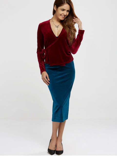 latest Velour Wrap Top - WINE RED ONE SIZE Mobile