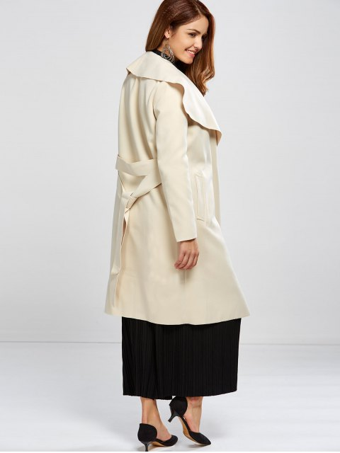 fancy Shawl Collar Belted Wrap Coat - OFF-WHITE S Mobile