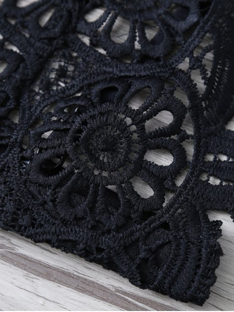 online Crochet Flower Unlined Bra - BLACK L Mobile