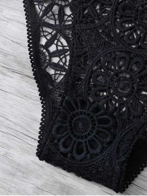 latest Crochet Flower Unlined Bra and Panty - BLACK M Mobile