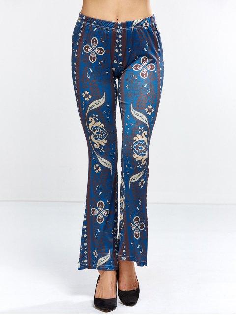 best Floral Bell Bottom Pants - PURPLISH BLUE XL Mobile