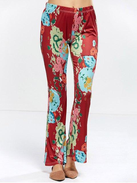 shops Flower Bell Bottom Pants - WINE RED S Mobile