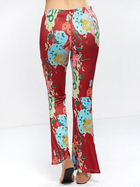 shop Flower Bell Bottom Pants - WINE RED M Mobile