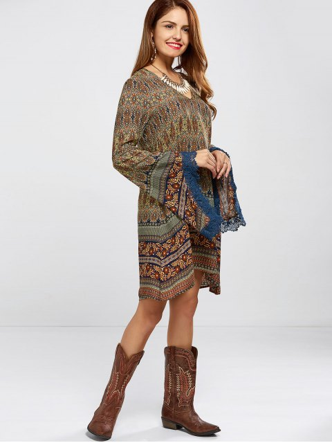 women Bell Sleeve Lace Trim Printed Boho Dress - COLORMIX S Mobile
