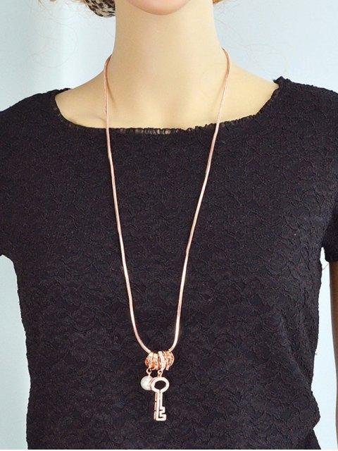 fashion Faux Pearl Rhinestone Key Sweater Chain -   Mobile