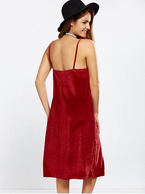 hot Velvet Cami Slip Dress - RED S Mobile