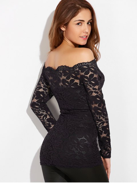 lady Fitting Off The Shoulder Lace Blouse - BLACK S Mobile