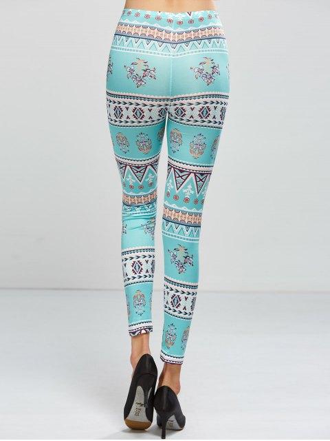 trendy Patterned Skinny Leggings - LIGHT GREEN ONE SIZE Mobile