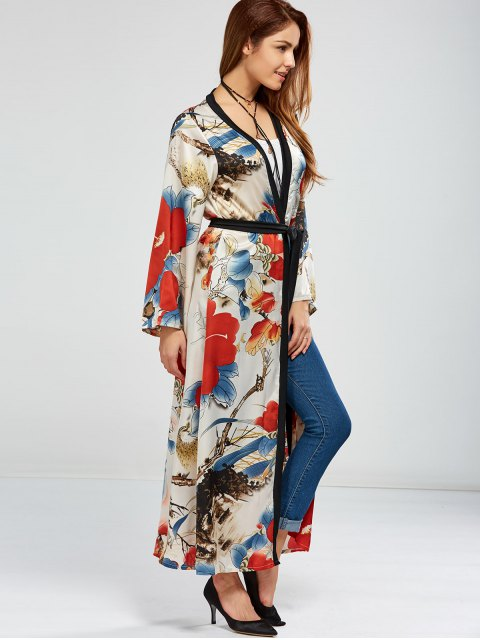 best Floral Open Front Maxi Cape - FLORAL ONE SIZE Mobile