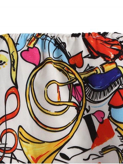 women Off Shoulder Scrawl Print Top - COLORMIX M Mobile