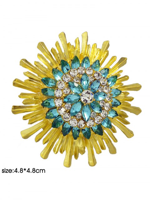 online Enamel Faux Crystal Flower Brooch - YELLOW AND GREEN  Mobile