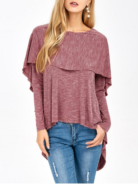 unique Overlay High Low Hem T-Shirt - RUSSET-RED XL Mobile