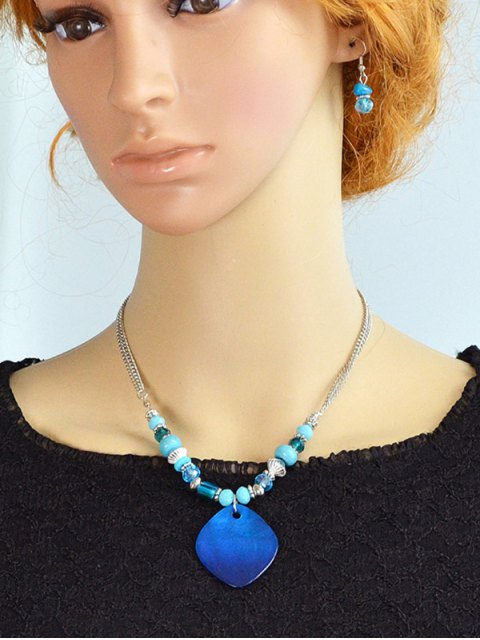 trendy Faux Crystal Turquoise Jewelry Set - BLUE  Mobile