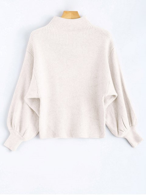 chic Ribbed Puff Sleeve Mock Neck Sweater - WHITE ONE SIZE Mobile